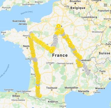 Carte de l'itinéraire le M comme Marie